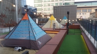 Some of the tents you can use while visiting the cafe.